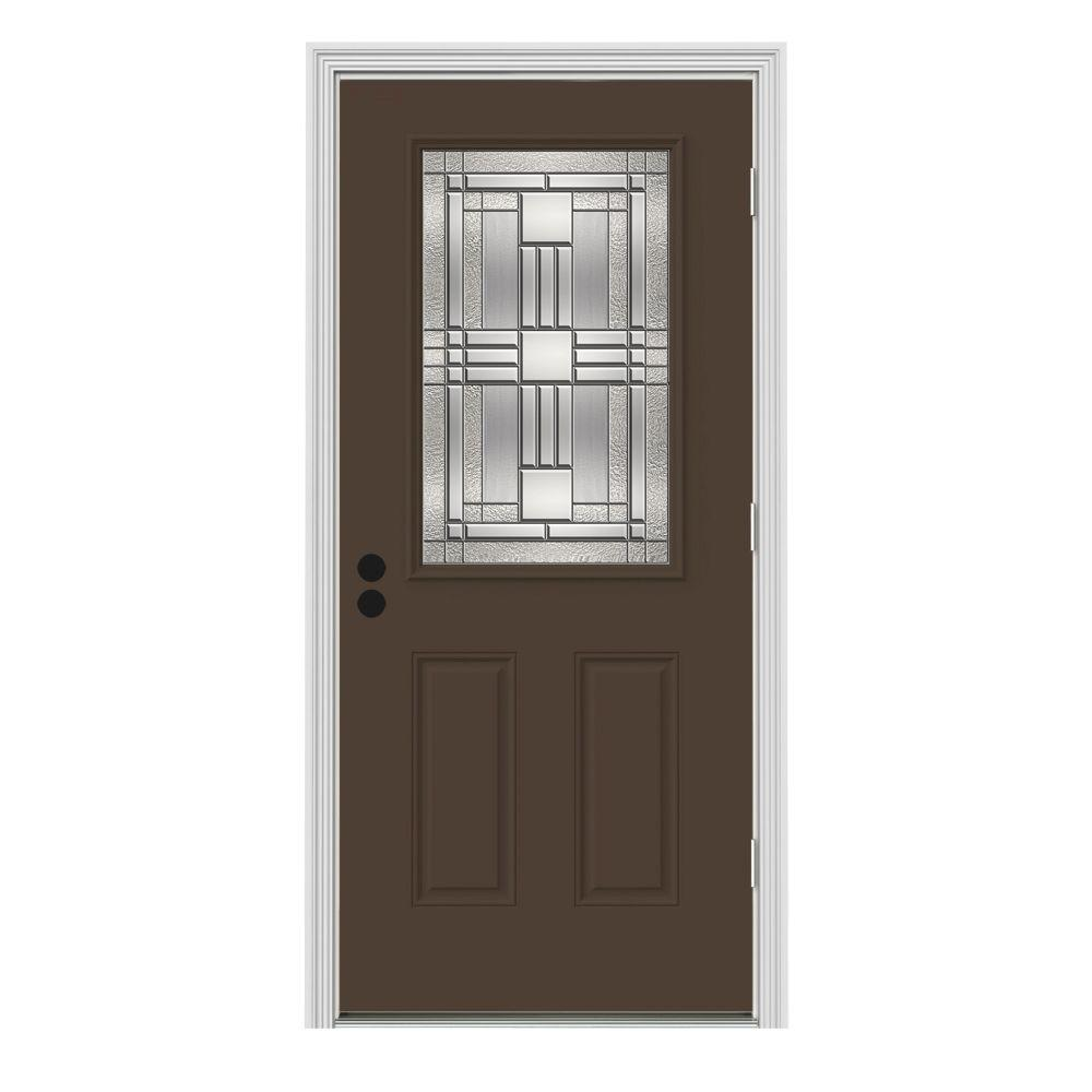 Jeld Wen 32 In X 80 In 1 2 Lite Cordova Dark Chocolate Painted Steel Prehung Left Hand