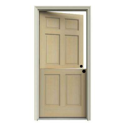Dutch Hemlock 6 Panel Unfinished Wood Prehung Front Door With Primed White  AuraLast Jamb And