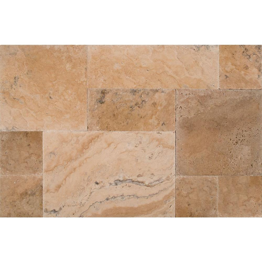 Philadelphia Pattern Honed Unfilled Chipped Brushed Travertine Floor And Wall Tile 5 Kits 80 Sq Ft Pallet