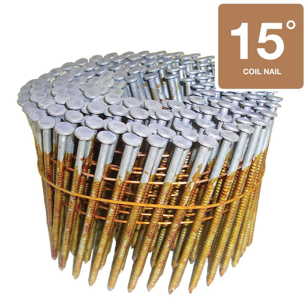 Hitachi 3 in. x 0.120 Ring 2.4M Hot-Dipped Galvanized Round-Head Wire Coil Framing Nails (2,400-Box)