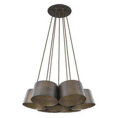 Luna 7-Light Oil-Rubbed Bronze Cluster Pendant with Antique Gold Interior Shades