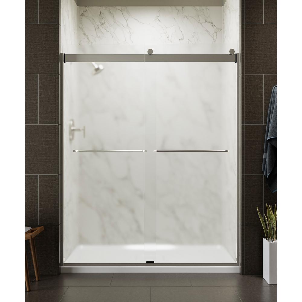 Levity 59 in. x 74 in. Frameless Sliding Shower Door in Nickel with Towel Bar