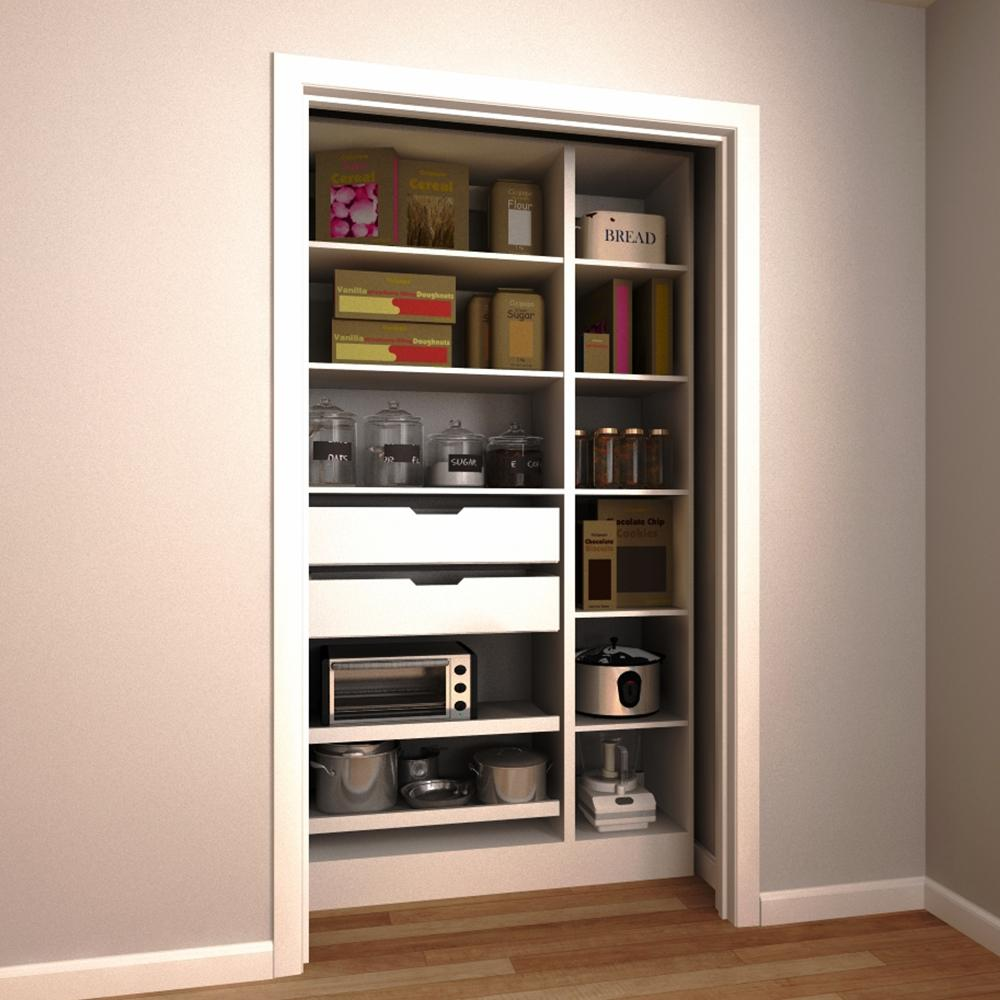 Modifi 45 In W X 15 In D X 84 In H Melamine Pantry Organizer Kit With Roll Out Trays In White