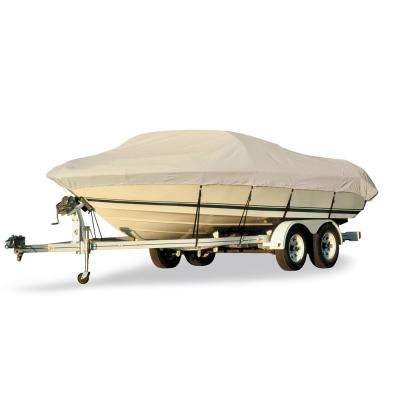 Acrylic Coated Polyester Gray Hot Shot Fabric BoatGuard Boat Cover with Storage Bag and Tie-Downs for 102 in. Beams