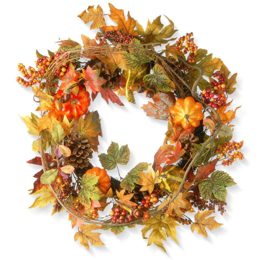National Tree Company 24 in. Maple Wreath with Pumpkins