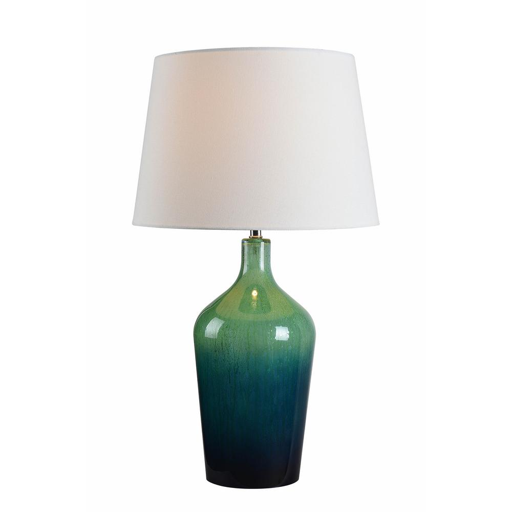 Teal Ombre Mercury Glass Table Lamp With White Cotton Shade