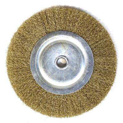 8 in. Crimped Steel Bench Wire Wheel, 5/8 in. Arbor, 0.011 in. Wire