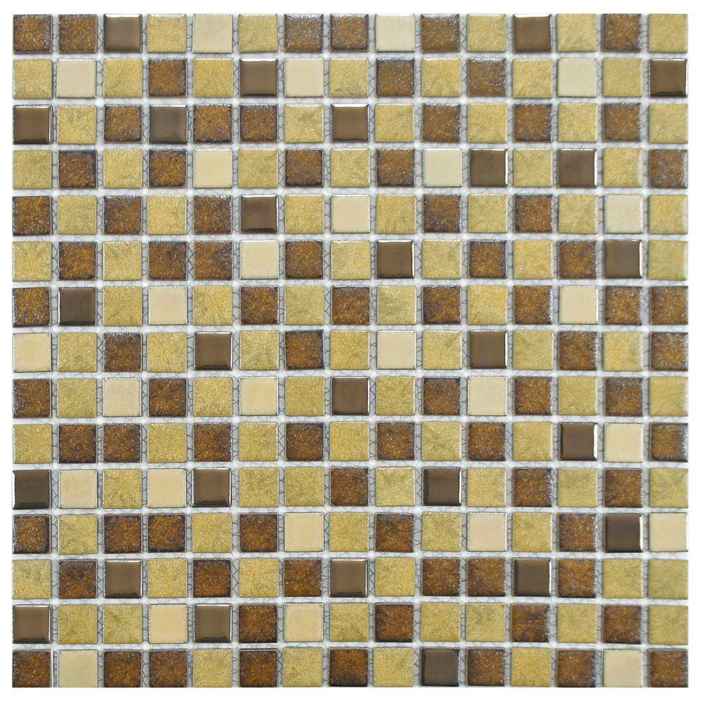 Metal Multi Beige 12-1/4 in. x 12-1/4 in. x 5 mm Porcelain Mosaic Tile (10.63 sq. ft. / case)