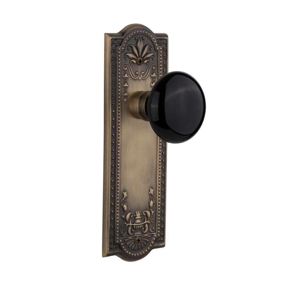 Meadows Plate 2-3/8 in. Backset Antique Brass Privacy Black Porcelain Door Knob