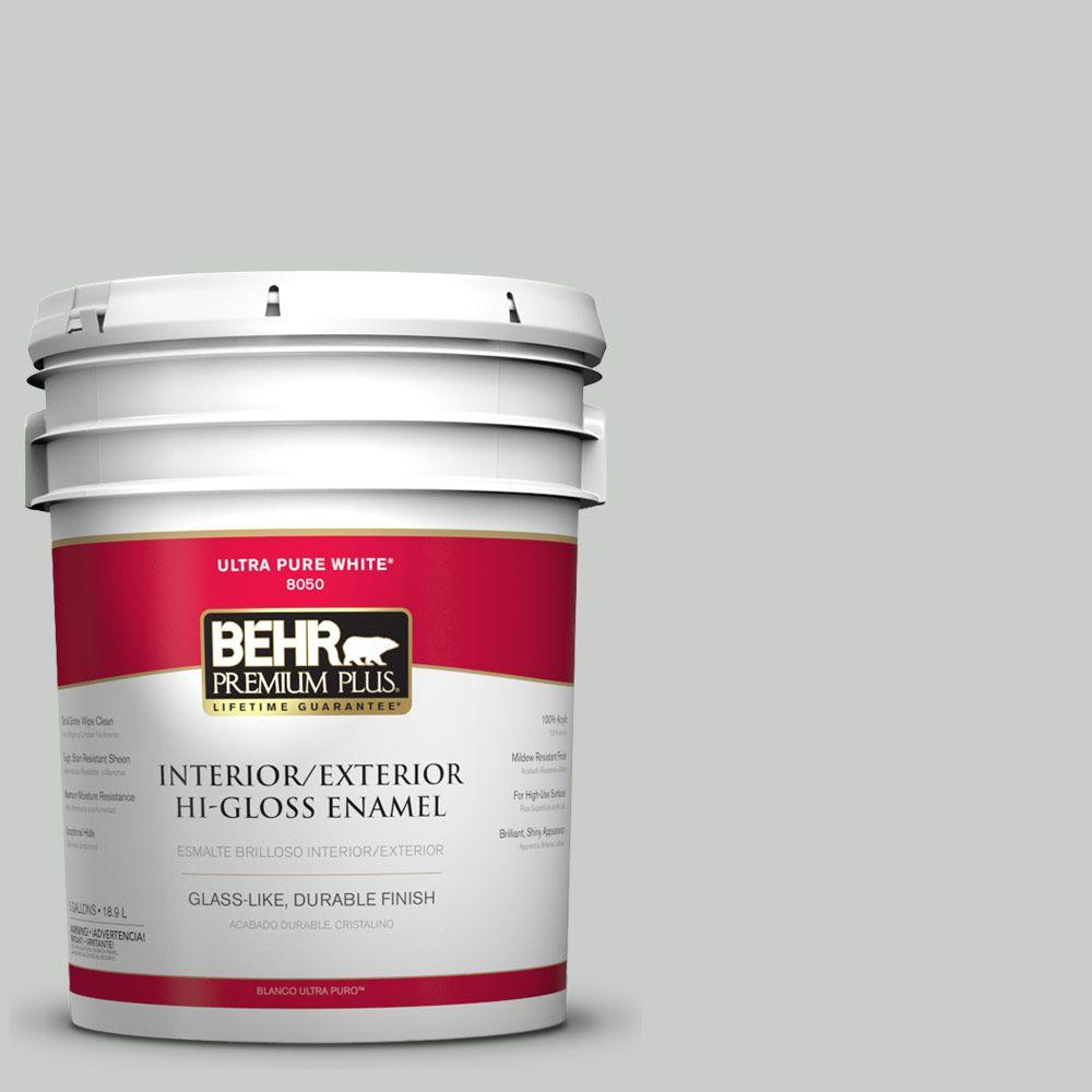 BEHR Premium Plus 5-gal. #PWL-89 Silver Setting Hi-Gloss Enamel Interior/Exterior Paint