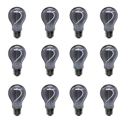 25-Watt Equivalent A19 Dimmable LED Smoke Glass Vintage Edison Light Bulb With Curve Filament Daylight (12-Pack)
