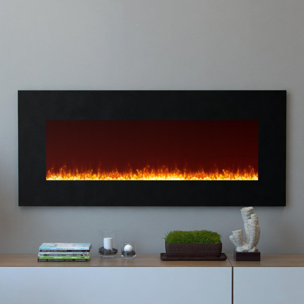 Moda Flame Essex 50 In Crystal Wall Mounted Electric Fireplace In