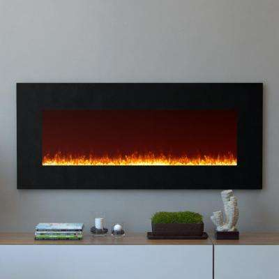Essex 50 in. Crystal Wall Mounted Electric Fireplace in Black