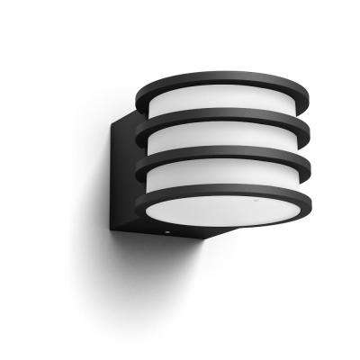 Hue White Lucca Black Outdoor A19 LED Wall Mount Sconce with Smart Wireless A19 Light Bulb