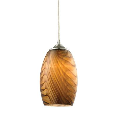 Tidewaters 1-Light Satin Nickel and Amber Glass Pendant