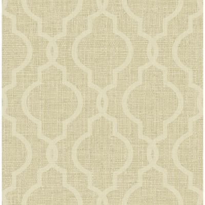 Geometric Jute Gold Quatrefoil Wallpaper Sample
