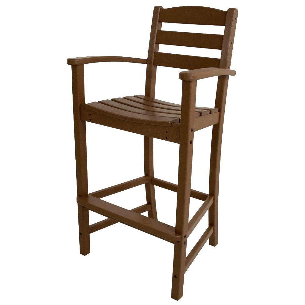 La Casa Cafe Teak Plastic Outdoor Patio Bar Arm Chair
