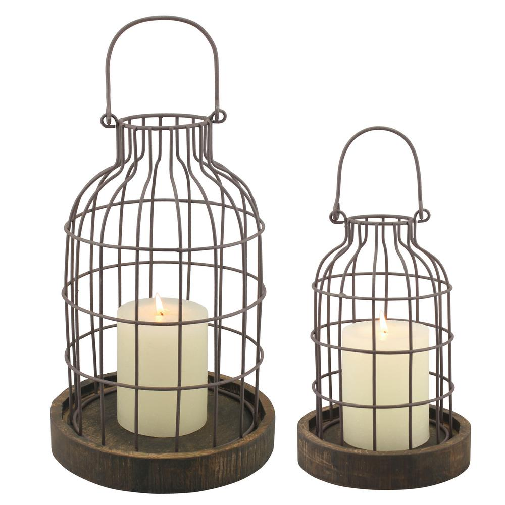 Brown Weathered Metal Lantern With Wood Base Set Of 2