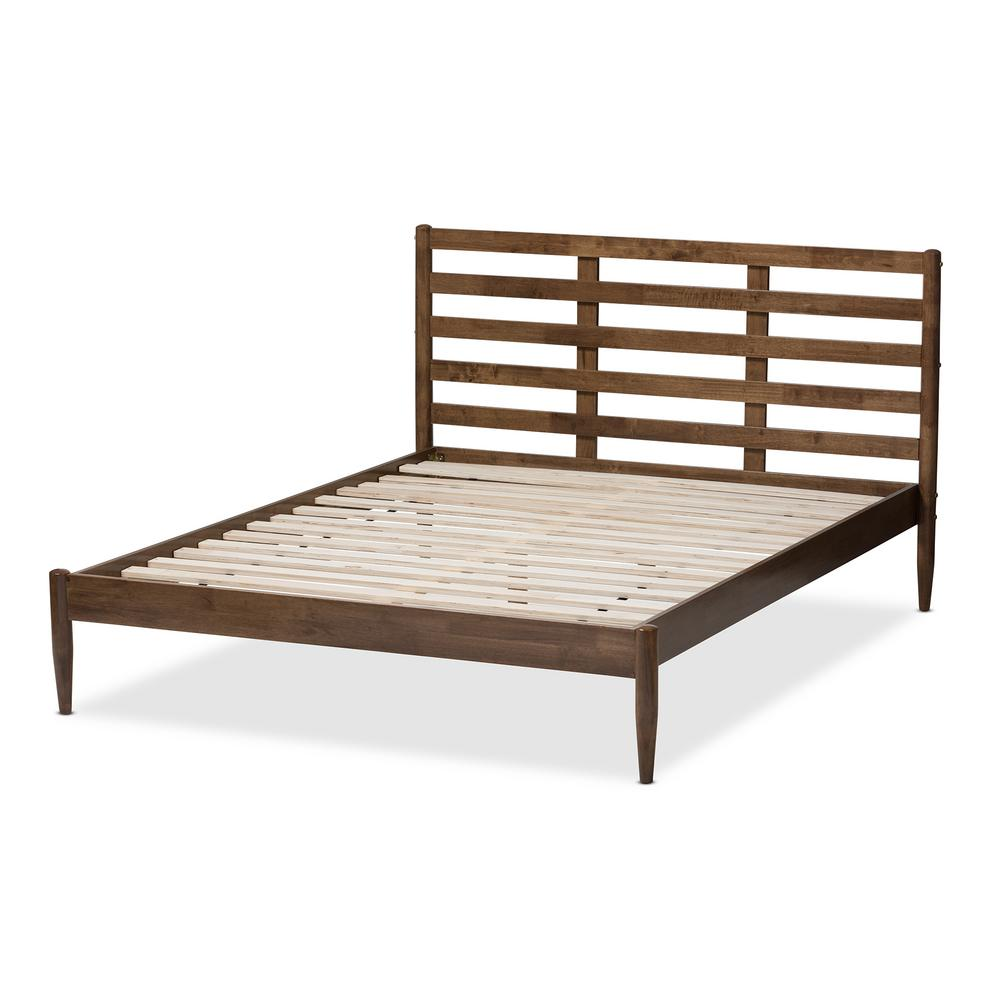 Baxton Studio Opal Medium Brown Wood Queen Platform Bed