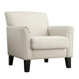 Awe Inspiring Homesullivan Durham White Fabric Arm Chair With Ottoman Bralicious Painted Fabric Chair Ideas Braliciousco
