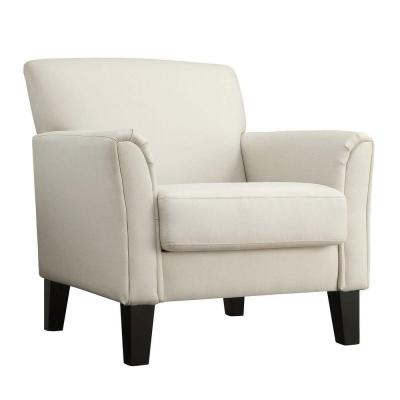 Durham White Fabric Arm Chair with Ottoman