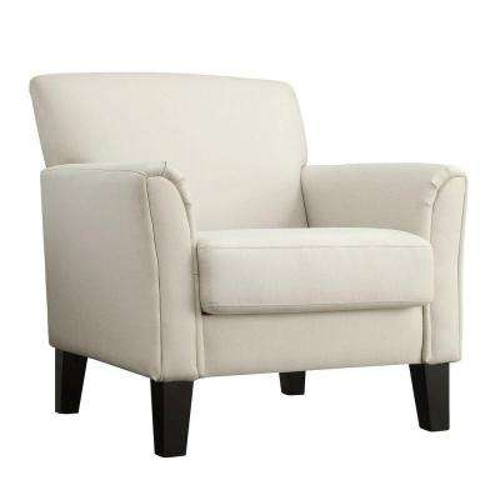 Durham White Fabric Arm Chair with Ottoman