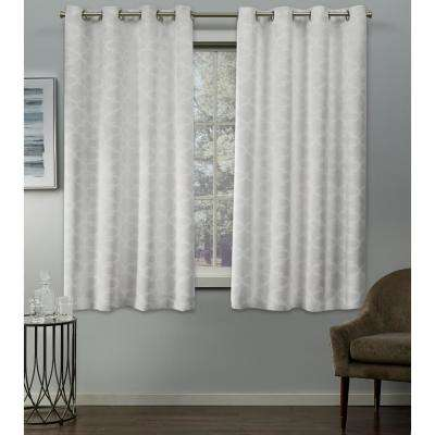 Cartago 54 in. W x 63 in. L Woven Blackout Grommet Top Curtain Panel in Vanilla (2 Panels)