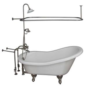 Barclay Products 5 ft. Acrylic Ball and Claw Feet Slipper Tub in White with Brushed Nickel Accessories by Barclay Products