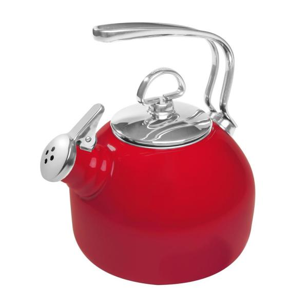 Chantal Classic 7.2-Cups Enamel-on-Steel Chili Red Tea Kettle 37-18S RE