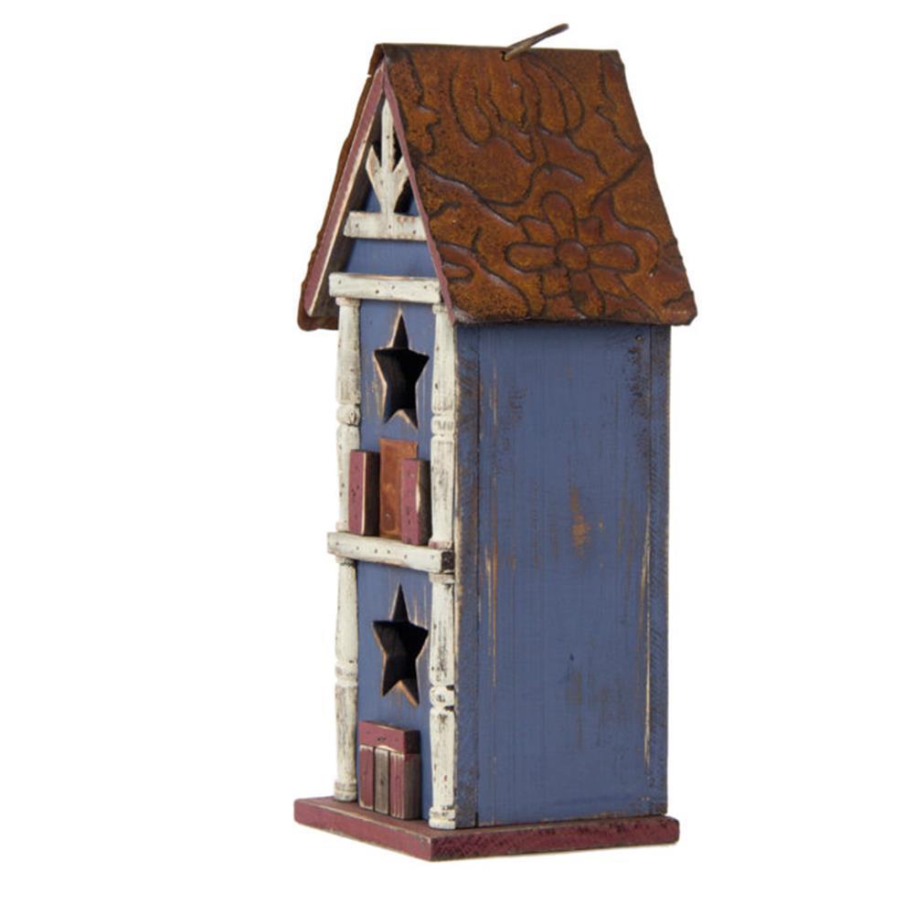 12.60 in. H Solid Wood/Metal Birdhouse