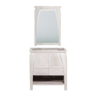 Tranquility 30 in. W Teak Vanity Bath Cabinet Only With Mirror in Driftwood