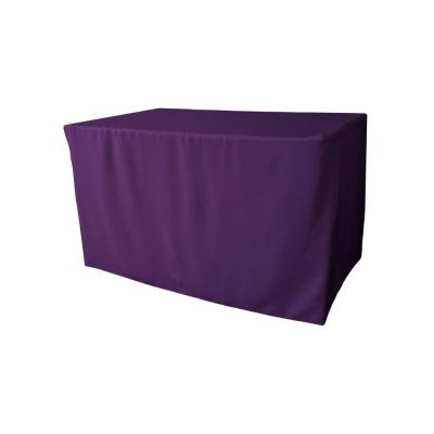 48 in. L x 24 in. W x 30 in. H Purple Polyester Poplin Fitted Tablecloth