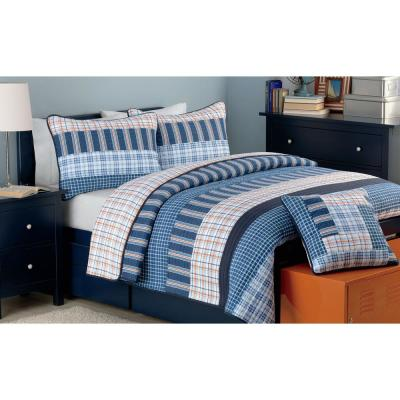 Bennett Plaid Stripe Tartan 2-Piece Navy Blue Orange Cotton Twin Quilt Bedding Set