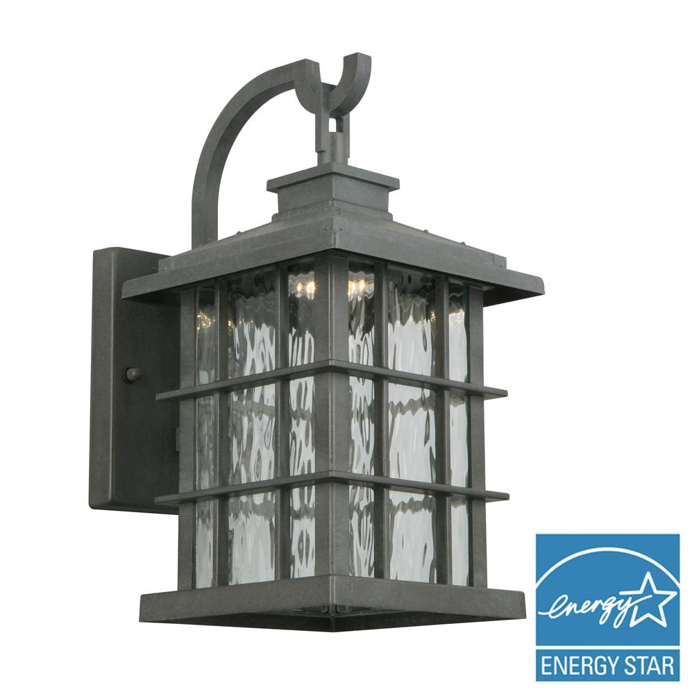 Dusk to dawn outdoor wall mounted lighting outdoor lighting summit ridge collection zinc outdoor integrated led dusk to dawn medium wall lantern aloadofball Images