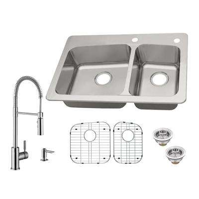 All-in-One Dual Mount 18-Gauge Stainless Steel 33 in. 2-Hole 60/40 Double Bowl Kitchen Sink with Kitchen Faucet