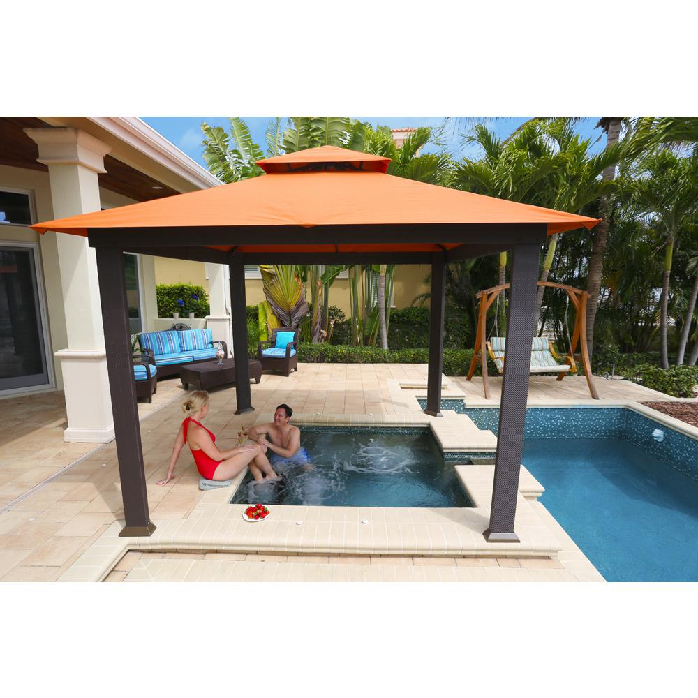Paragon-Outdoor 10 ft. x 10 ft. Gazebo with Rust Sunbrella Canopy - STC Paragon-Outdoor 10 Ft. X 10 Ft. Gazebo With Rust Sunbrella