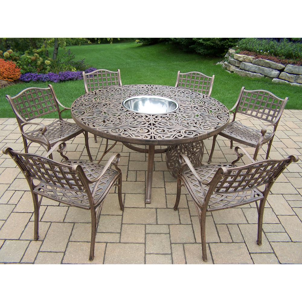 8 Piece Aluminum Outdoor Dining Set And Stainless Steel Ice Bucket