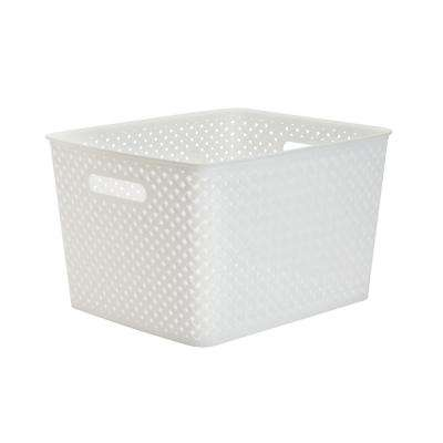 13.75 in. x 11.50 in. x 8.75 in. Large Resin Wicker Storage Bin in White