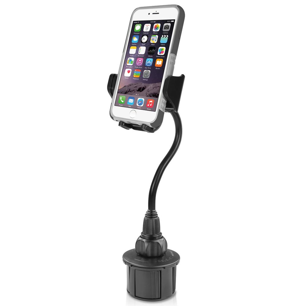 8 in. Extra-Long Adjustable Automobile Cup Holder Mount for Smartphones and