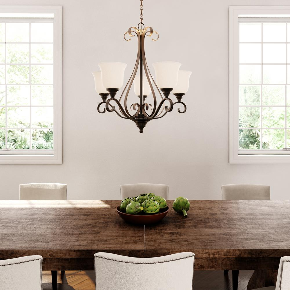 Hampton Bay 5 Light Oil Rubbed Bronze Chandelier With Frosted White Gl Shades