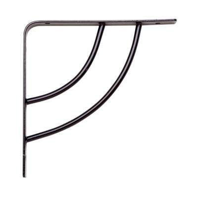 Milano 6 in. x .75 in. Black 25 lb. Decorative Shelf Bracket