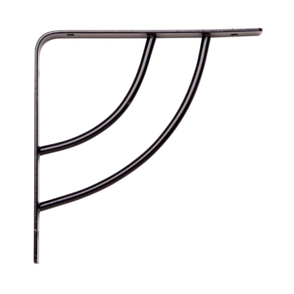 Milano 6 in. x .75 in. Black 25 lb. Decorative Shelf Bracket