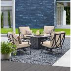 Highland Point Black Pewter 5-Piece Aluminum Outdoor Patio Fire Pit Set with CushionGuard Putty Tan Cushions