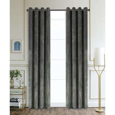 Regency Semi-Opaque Room Darkening Polyester Curtain in Charcoal - 54 in. L x 52 in. W