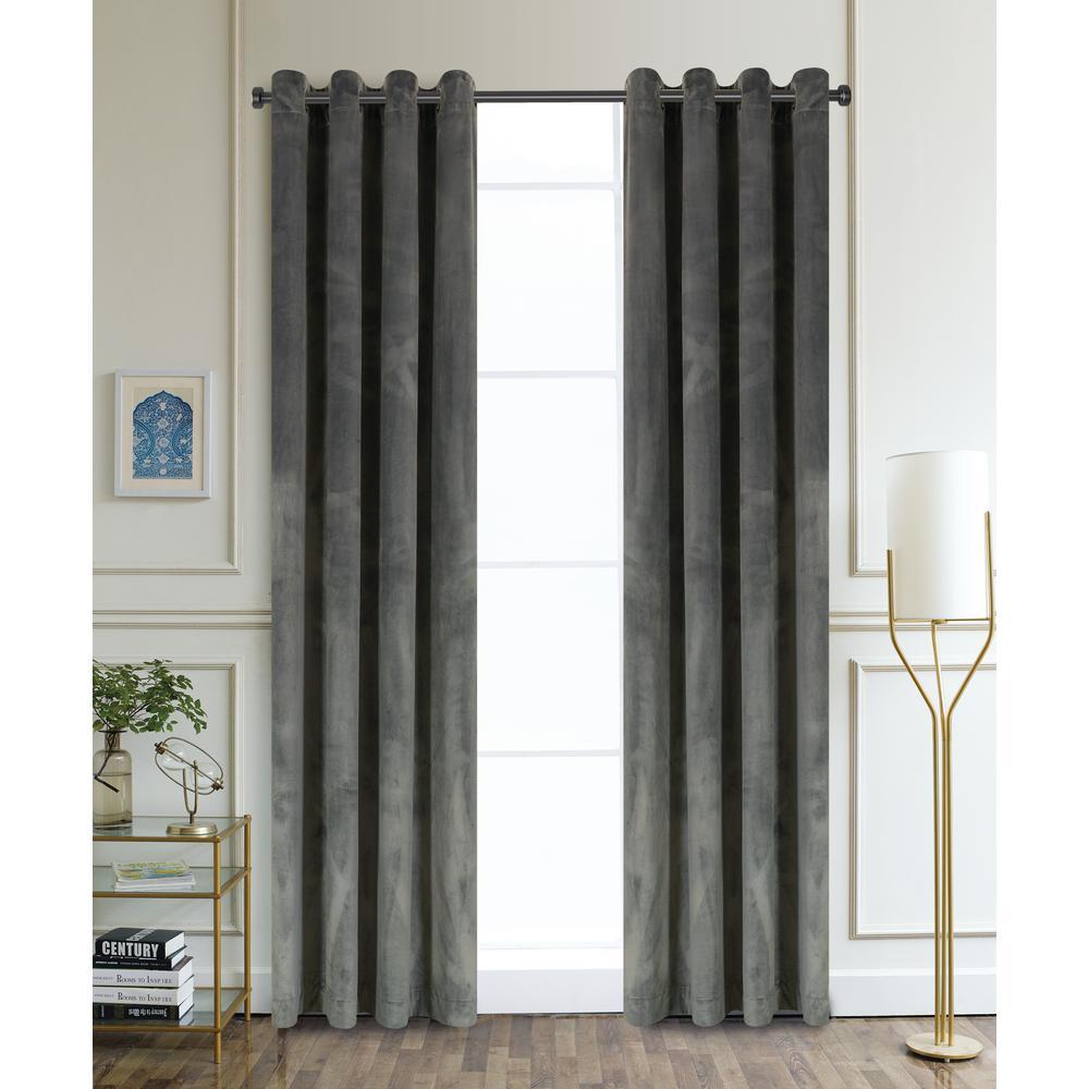 Regency Semi-Opaque Room Darkening Polyester Curtain in Charcoal - 54 in. L x 52 in. W