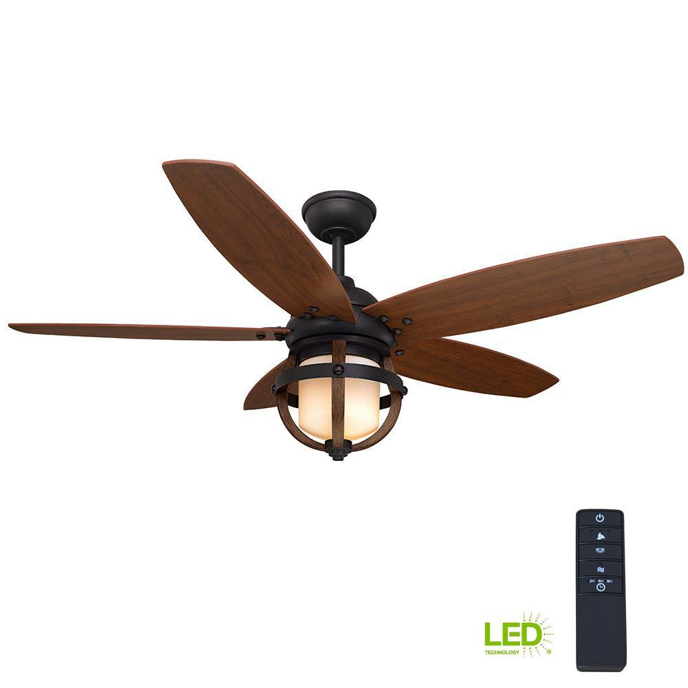 Home Decorators Collection Noah 52 in. LED Indoor Forged Iron Ceiling Fan with Light Kit and Remote Control