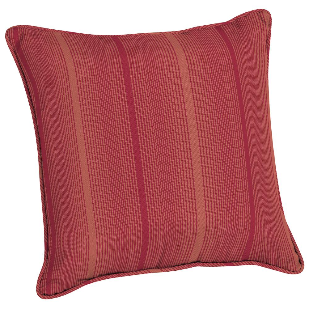 Acrylic 20 in. Coral Red Stripe Outdoor Throw Pillow