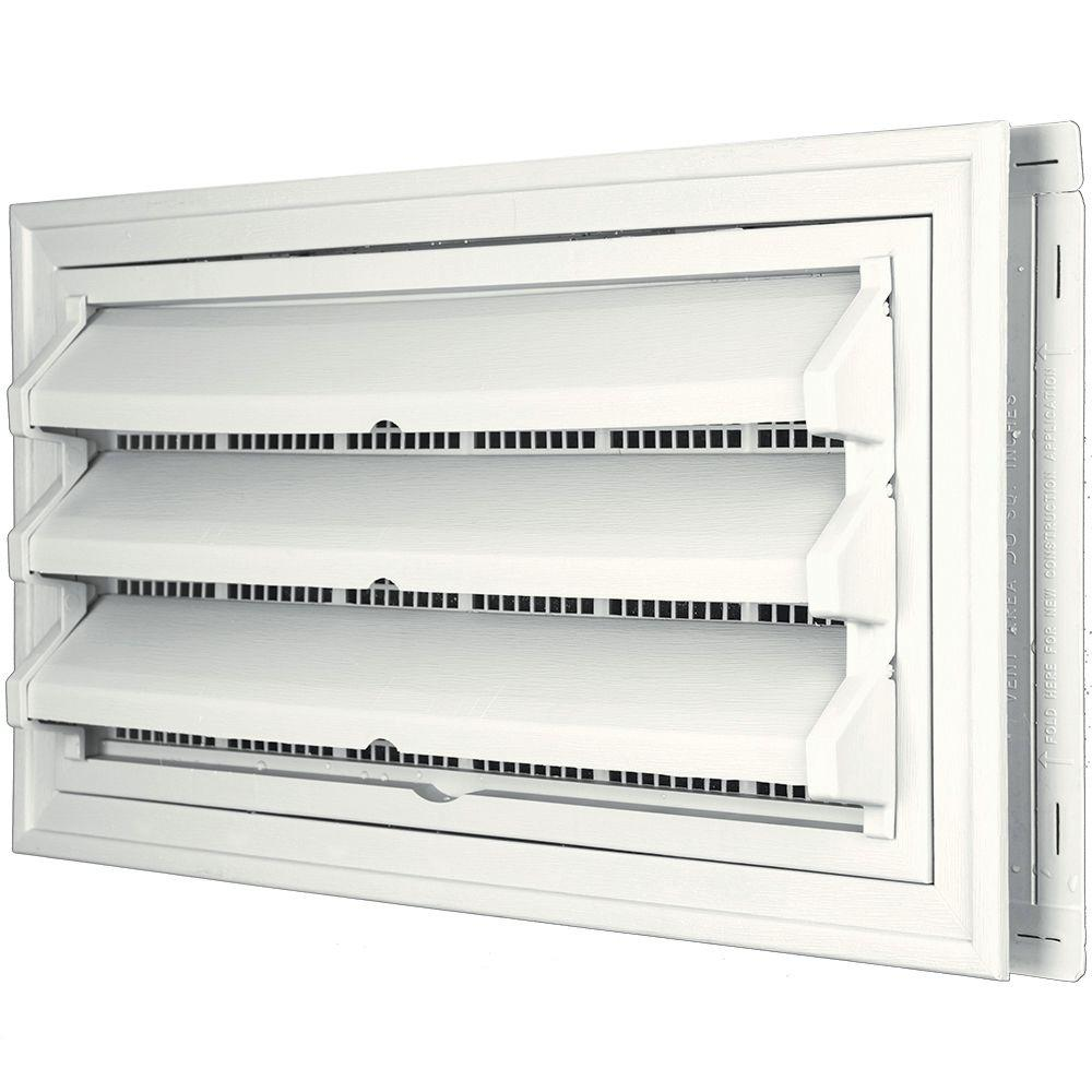 Builders Edge 9-3/8 in. x 17-1/2 in. Foundation Vent Kit with Trim Ring and Optional Fixed Louvers (Molded Screen) in #123 White