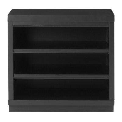 Mudroom 2-Shelf Wood Base Shelving Unit in Worn Black
