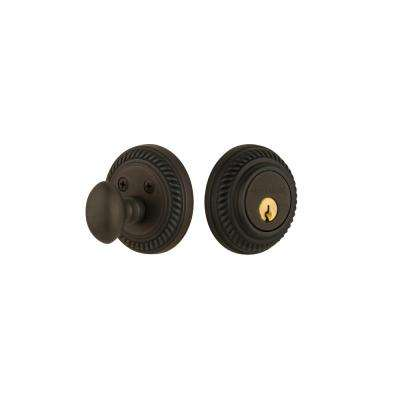 Rope Rosette 2-3/8 in. Backset Single Cylinder Deadbolt in Oil-Rubbed Bronze